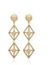 Lulu Frost Enigma Brass And Crystal Statement Earrings - Metallic