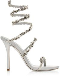 Rene Caovilla - Crystal-embellished Satin Snake-coil Sandals - Lyst
