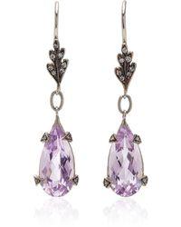 Cathy Waterman 22k Yellow Gold Amethyst Leaftop Earrings - Purple
