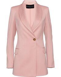 Brandon Maxwell Pinstripe Wool-blend Blazer - Pink