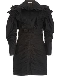 Philosophy Di Lorenzo Serafini Ruffled Cotton Poplin Mini Dress - Black