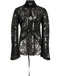 Ann Demeulemeester Paisley Guipure Lace Jacket - Black