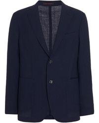 The Gigi Single-breasted Wool Blazer - Blue