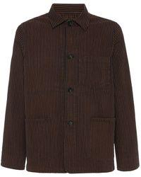 Officine Generale Chore Striped Cotton Jacket - Blue