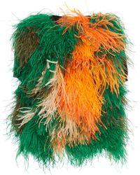 Loewe Cropped Feathers Wool Vest - Green