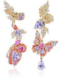 Anabela Chan Butterfly Garden Convertible 18k Gold Multi-stone Earrings - Pink