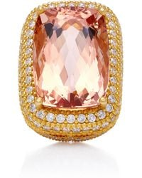 Sara Weinstock - 18k Gold, Morganite And Diamond Ring - Lyst