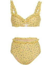 Faithfull The Brand Frida Ruffled Floral-print Bikini - Yellow