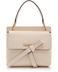 Oscar de la Renta Caveat Leather Top Handle Bag - White