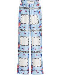 Rodarte Floral Printed Silk-twill Straight-leg Pajama Pants - Blue