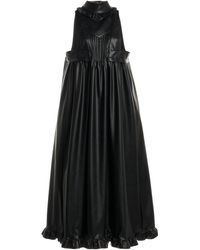 Paco Rabanne Pleated Faux Leather Midi Dress - Black