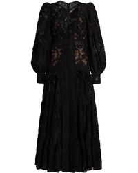 Acler Suffield Ruffled Lace Maxi Dress - Black