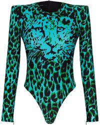 Alex Perry Archer Printed Jersey Bodysuit - Blue