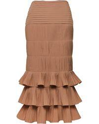 Johanna Ortiz Canela Flavour Cotton-blend Plissé Midi Skirt - Brown