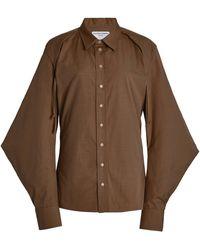 Bottega Veneta Cape-sleeve Cotton-blend Poplin Shirt - Brown