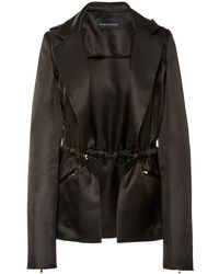 Brandon Maxwell Hooded Satin Blazer Jacket - Black