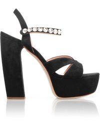Miu Miu Embellished Strap Platform Sandals - Black