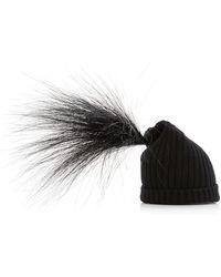 Marc Jacobs Wool Feather-trim Beanie - Black