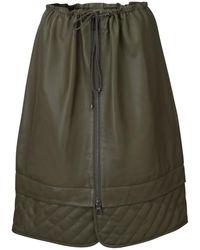 Dodo Bar Or Piki Quilt-detailed Leather Drawstring Midi Skirt - Green