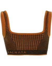Nagnata Houndstooth Wool-blend Bralette - Brown