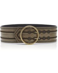Etro Embroidered Snake-effect Leather Waist Belt - Grey