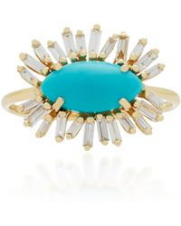 Suzanne Kalan | 18k Gold, Turquoise And Diamond Ring | Lyst