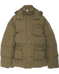 Ganni Quilted Shell Hooded Puffer Jacket - Green