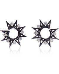Colette - 18k Oxidized Gold Diamond Hoop Earrings - Lyst