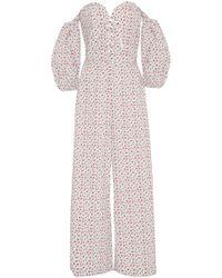 Vivetta - Theemin Lace-up Off-the-shoulder Cotton Jumpsuit - Lyst