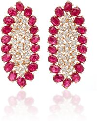 Sutra - Ruby And Diamonds Earrings - Lyst