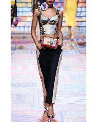 Dolce & Gabbana Printed Denim Bustier Top - Blue