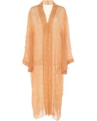 Johanna Ortiz The Era Of Truth Crinkled Chiffon Kimono - Orange