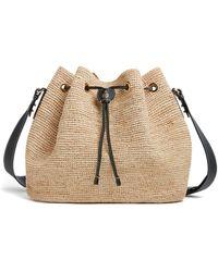 Mark Cross Joni Raffia Shoulder Bag - Black