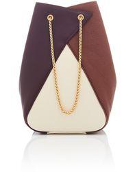 the VOLON Mani Color-block Leather Bucket Bag - Brown