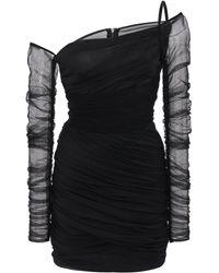 Dolce & Gabbana Asymmetric Draped Chiffon Mini Dress - Black
