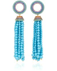 Joanna Laura Constantine - Grommet Tassel Gold-plated Brass And Cubic Zirconia Earrings - Lyst