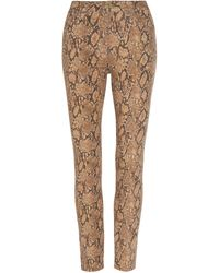 FRAME Le High High-rise Printed Cropped Skinny Jeans - Brown