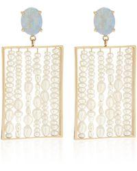 Wwake - Gold, Opal And Seed Pearl Earrings - Lyst
