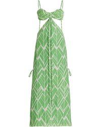 Alexis Daya Cutout Printed Linen Maxi Dress - Green