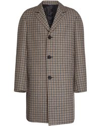 Lanvin Checked Wool Overcoat - Brown