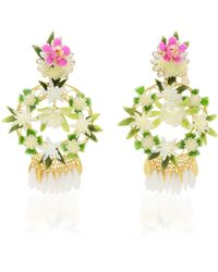 Mercedes Salazar - Fiesta White And Gold-tone Floral Drop Earrings - Lyst