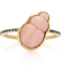 Lito 14k Gold Pink Opal Scarab And Blue Diamond Ring