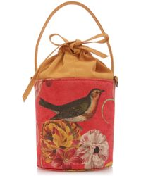 Glorinha Paranagua Bird Velvet Elba Bag - Red