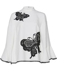 Andrew Gn - Butterfly Embroidered Mock Neck Blouse - Lyst