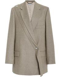 Stella McCartney Asymmetric Wool Blazer - Gray