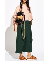 Valentino Silk Cady Cape-sleeve Top - Green