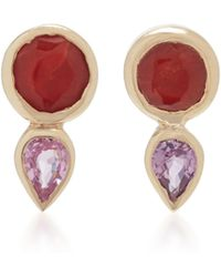 She Bee - 14k Gold, Coral, And Sapphire Stud Earrings - Lyst