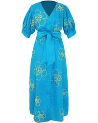 All Things Mochi Kaleo Linen Embroidered Dress - Blue
