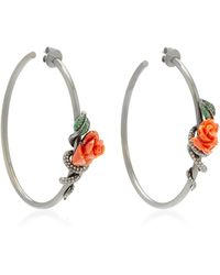 Wendy Yue - Flower 18k White Gold Multi-stone Hoop Earrings - Lyst