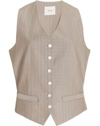 Matin Pinstriped Wool Vest - Multicolour